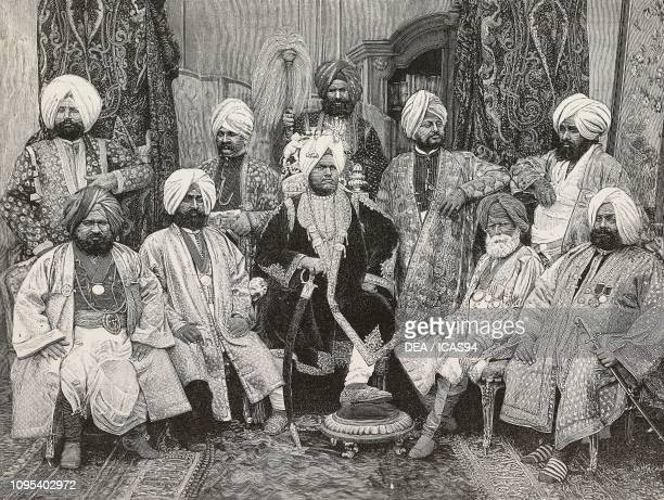Jagatjit Singh Maharaja of Kapurthala India and his ministers engraving by Cantagalli from a photograph by Bourne and Shepherd from L'Illustrazione...