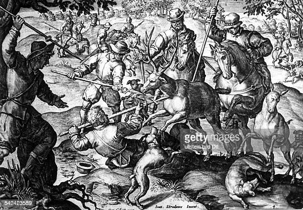 Jagdszenen von Johann Stradanus gestochen von Carel Collaertder gehetzte Hirsch umstellt von denJägern