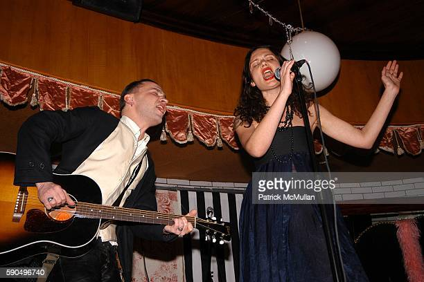 Jager and Yelena Yemchuk attend The Citizens Band Cabaret Debut 'Whatshisname' at La Bottega Bar at the Maritime Hotel on January 26 2005 in New York...