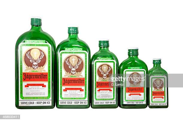 jagermeister bottles - liqueur stock pictures, royalty-free photos & images