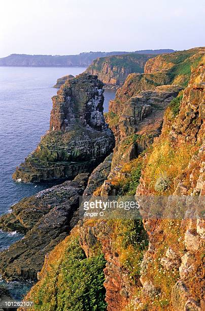 jagged cliffs in brittany, france - cotes d'armor stock photos and pictures