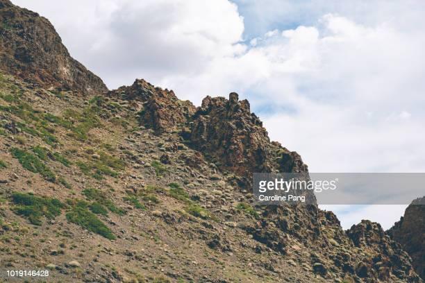 Jagged dark rocks that formed the landscape of Yolyn Am.