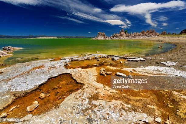 Jagged Mono Lake shoreline and rock columns at South Tufa, central California, summer afternoon