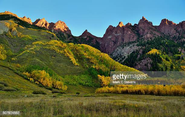 jagged peaks and a hillside of trees - white river national forest stock photos and pictures