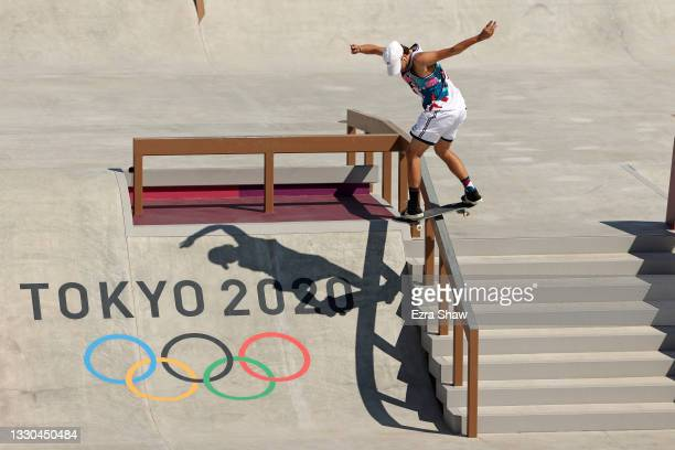 Jagger Eaton of Team USA competes at the Skateboarding Men's Street Prelims on day two of the Tokyo 2020 Olympic Games at Ariake Urban Sports Park on...
