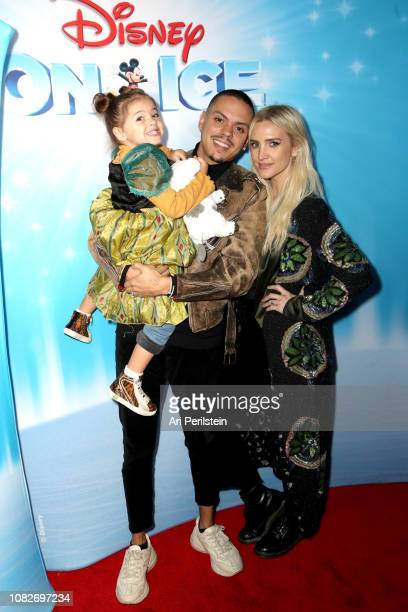 Jagger Ross Evan Ross and Ashlee Simpson attend Disney On Ice Presents Dare to Dream Celebrity Skating Party at Staples Center on December 14 2018 in...
