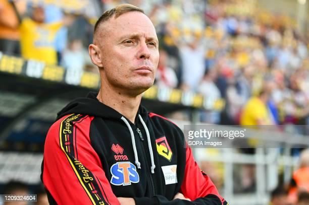 Jagiellonia Coach Ireneusz Mamrot in action during the Polish Ekstraklasa match between Arka Gdynia and Jagiellonia at Bialystok City Stadium