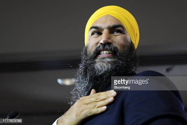 Jagmeet Singh leader of the New Democratic Party attends an NDP election night event in Burnaby British Columbia Canada on Monday Oct 21 2019...