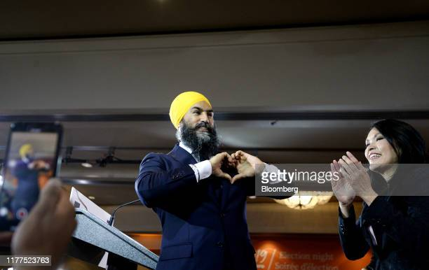 Jagmeet Singh leader of the New Democratic Party gestures during an NDP election night event in Burnaby British Columbia Canada on Monday Oct 21 2019...