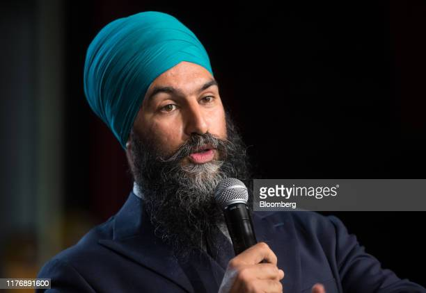 Jagmeet Singh leader of the New Democratic Party speaks during a campaign rally in Vancouver British Columbia Canada on Saturday Oct 19 2019 Odds are...