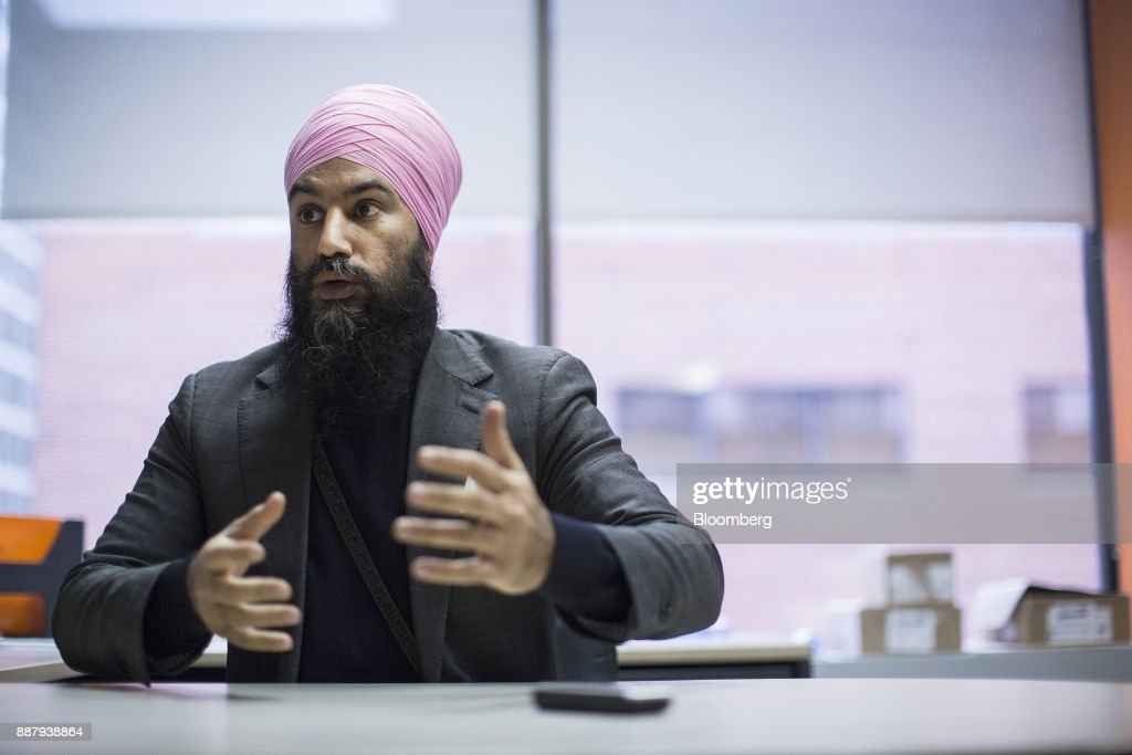 Jagmeet Singh, leader of the New Democratic Party (NDP), speaks during an interview in Ottawa, Ontario, Canada, on Thursday, Dec. 7, 2017. Singh was elected as the leader of the New Democratic Party on October 1. Photographer: Chris Roussakis/Bloomberg via Getty Images