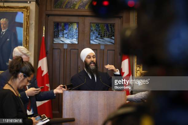 Jagmeet Singh leader of the New Democratic Party speaks to members of the media at the House of Commons following tabling the federal budget in...