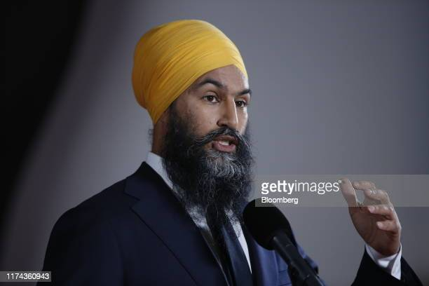 Jagmeet Singh leader of the New Democratic Party speaks to members of the media following the federal leader's debate in Gatineau Quebec Canada on...
