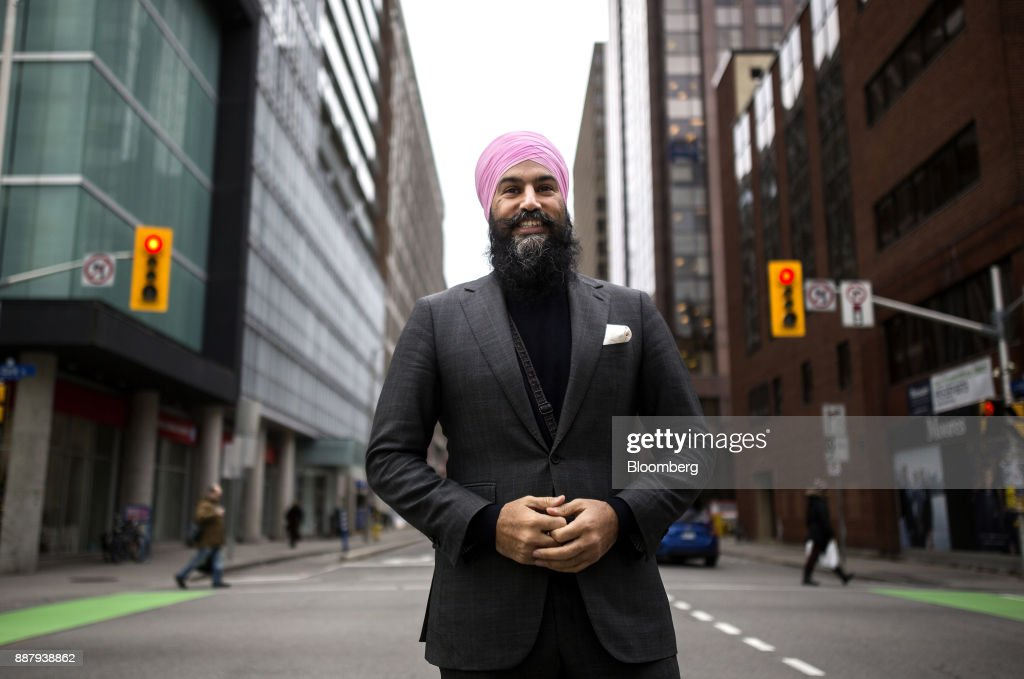 Jagmeet Singh, leader of the New Democratic Party (NDP), stands for a photograph following an interview in Ottawa, Ontario, Canada, on Thursday, Dec. 7, 2017. Singh was elected as the leader of the New Democratic Party on October 1. Photographer: Chris Roussakis/Bloomberg via Getty Images