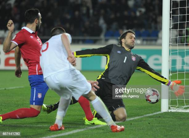 Jagos Vukovic of Serbia in action during the 2018 FIFA World Cup Qualification match between Georgia and Serbia in Tbilisi Georgia on March 24 2017