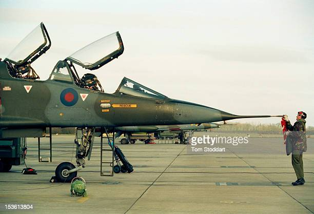 Jaguar 2-seat trainer aircraft at RAF Coltishall airbase near Norwich in Norfolk, February 1994 .