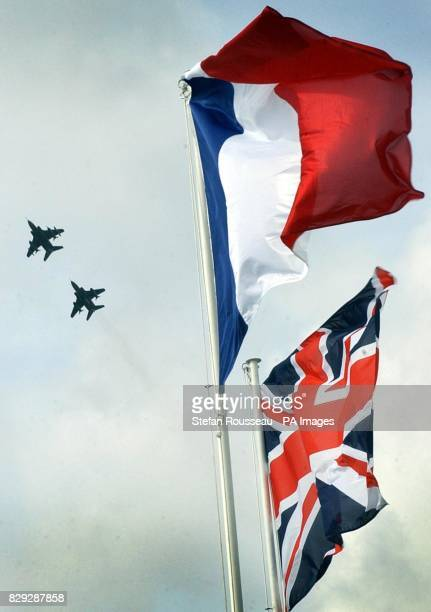 RAF Jaguar aircraft execute a fly past over the British Air Services Memorial at St Omer Airfield in France 108yearold Henry Allingham a World War...
