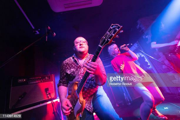 L Jaguar and Katie Alice Greer of Priests perform on stage at The Hug And Pint on May 14 2019 in Glasgow Scotland