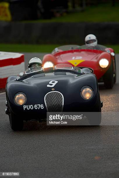Jaguar Ctype entered and driven by Ben Cussons on the chicane in the wet during the Freddie March Memorial Trophy race at Goodwood on September 10...