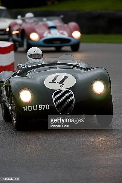 Jaguar Ctype entered and driven by Frederic Wakeman on the chicane in the wet during the Freddie March Memorial Trophy race at Goodwood on September...