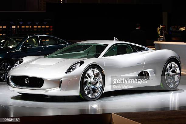 Jaguar CX75 electric car is revealed at the two-day media preview event for the 2010 Los Angeles Auto Show on November 17, 2010 in Los Angeles,...