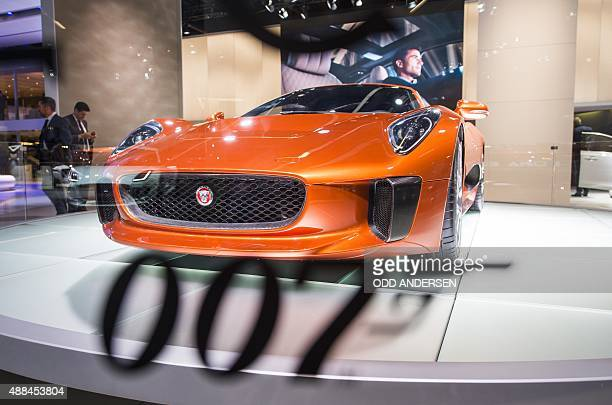 Jaguar C-X75 hybrid-electric concept car that will be featured in the upcoming James Bond movie is displayed during a press day of the 66th IAA auto...