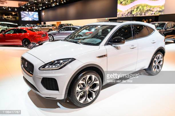 Jaguar E-Pace compact luxury SUV on display at Brussels Expo on January 9, 2020 in Brussels, Belgium. The E-Pace is the second SUV made by Jaguar...