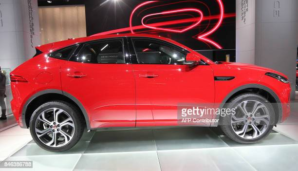 A Jaguar EPace is presented at the Frankfurt Auto Show IAA in Frankfurt am Main Germany on September 13 2017 According to organisers around 1000...