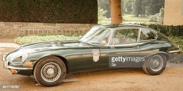 jaguar e-type classic british sports car - jaguar e type stock photos and pictures