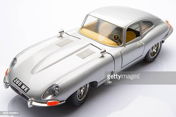 jaguar e-type classic sports car model - jaguar e type stock photos and pictures