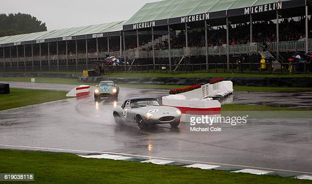 Jaguar Etype entered and driven by Joaquin FolchRusinol also driven by Ben Mitchell on the chicane in the wet during the Freddie March Memorial...
