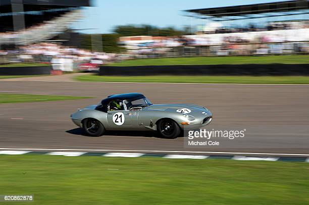 Jaguar Etype entered and driven by Joaquin FolchRusinol also driven by Ben Mitchell in the RAC TT Celebration race at Goodwood on September 11 2016...