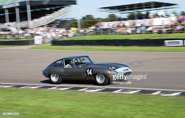 Jaguar Etype FHC entered and driven by Richard Meins also driven by Rob Huff in the RAC TT Celebration race at Goodwood on September 11 2016 in...