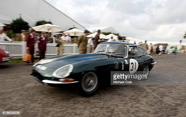 Jaguar Etype FHC leaving the Assembly Area at Goodwood on September 9 2016 in Chichester England