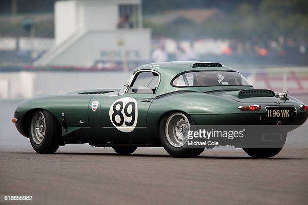 Jaguar Etype owned by Zollie Birch spins out of the chicane driven by Gordon Shedden Mat Jackson in the RAC TT Celebration race at Goodwood on...