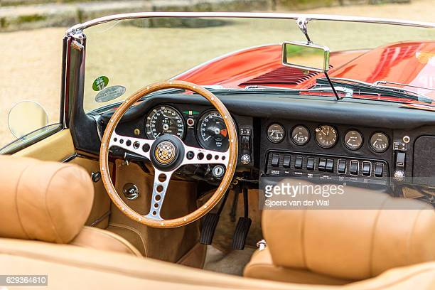 jaguar e-type roadster classic british sports car interior - jaguar e type stock photos and pictures