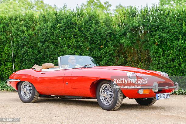 jaguar e-type roadster classic british sports car - jaguar e type stock photos and pictures
