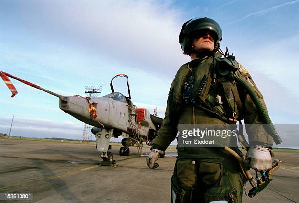 Jaguar fighter aircraft and pilot at RAF Coltishall airbase near Norwich in Norfolk, February 1994.