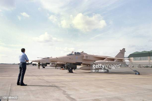 Jaguar fighter aircraft painted in pink camouflage prepare to depart their base at RAF Coltishall for deployment in the first Gulf War The specially...