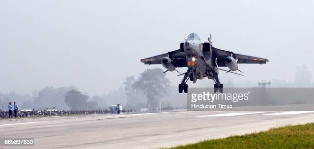 Jaguar fighter plane makes touchdown on the LucknowAgra Expressway near Bangarmau in Unnao district on October 24 2017 around 65 km from Lucknow...