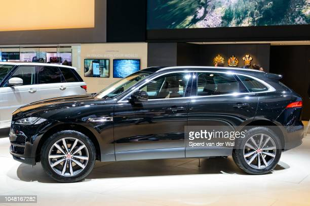 Jaguar F-Pace luxury compact crossover SUV front view on display at Brussels Expo on January 13, 2017 in Brussels, Belgium. The F Pace is the first...