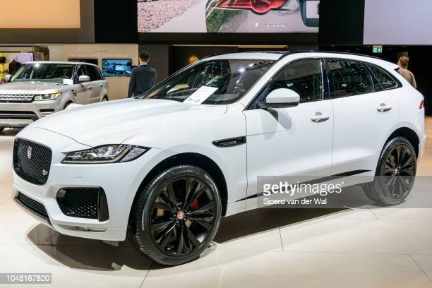 Jaguar FPace luxury compact crossover SUV front view on display at Brussels Expo on January 13 2017 in Brussels Belgium The F Pace is the first model...