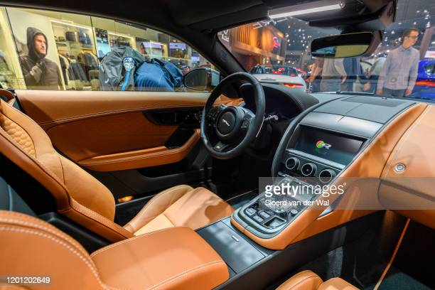 Jaguar FType 2020 facelift interior sports car on display at Brussels Expo on January 9 2020 in Brussels Belgium The new Jaguar FType features new...