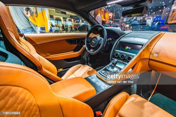 Jaguar F-Type 2020 facelift interior sports car on display at Brussels Expo on January 9, 2020 in Brussels, Belgium. The new Jaguar F-Type features...