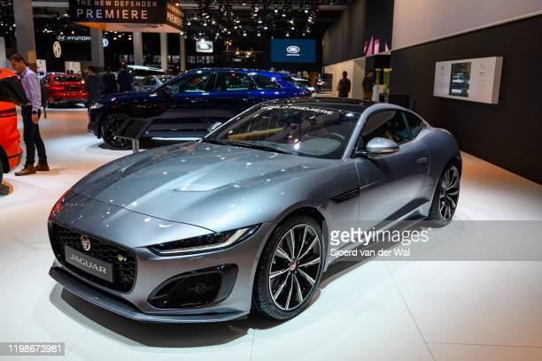 Jaguar F-Type 2020 facelift sports car on display at Brussels Expo on JANUARY 09, 2020 in Brussels, Belgium. The new Jaguar F-Type features new...