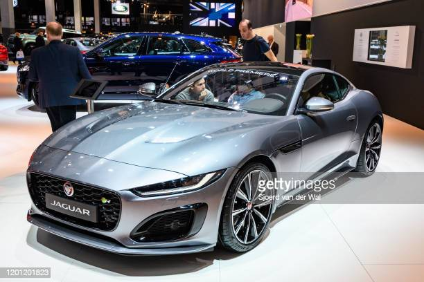Jaguar F-Type 2020 facelift sports car on display at Brussels Expo on January 9, 2020 in Brussels, Belgium. The new Jaguar F-Type features new...