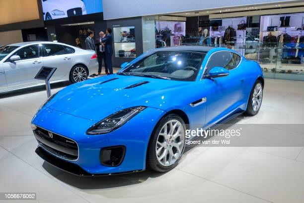 Jaguar F-Type R Dynamic coupe sports car front view on display at Brussels Expo on January 10, 2018 in Brussels, Belgium. The F-type is available...