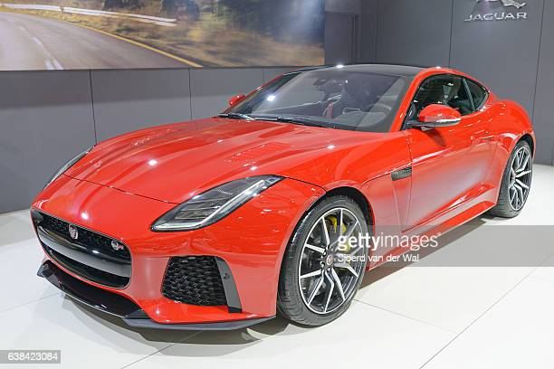 """jaguar f-type svr two-seat sports car front view - """"sjoerd van der wal"""" stock pictures, royalty-free photos & images"""