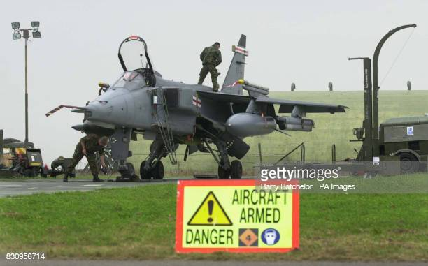 "Jaguar GR3 is inspected during the ""Work up"" period for exercise Cornish Talon at RAF St Mawgan, Cornwall. The exercise is aimed at training..."