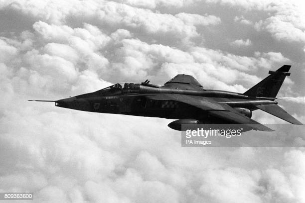 Jaguar ground attack jet in flight. It accompanied the Avro Vulcan on the bomber's final scramble from RAF Waddington